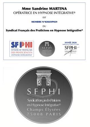 Carte membre syndicat sfphi et logo sfphi martina sandrine