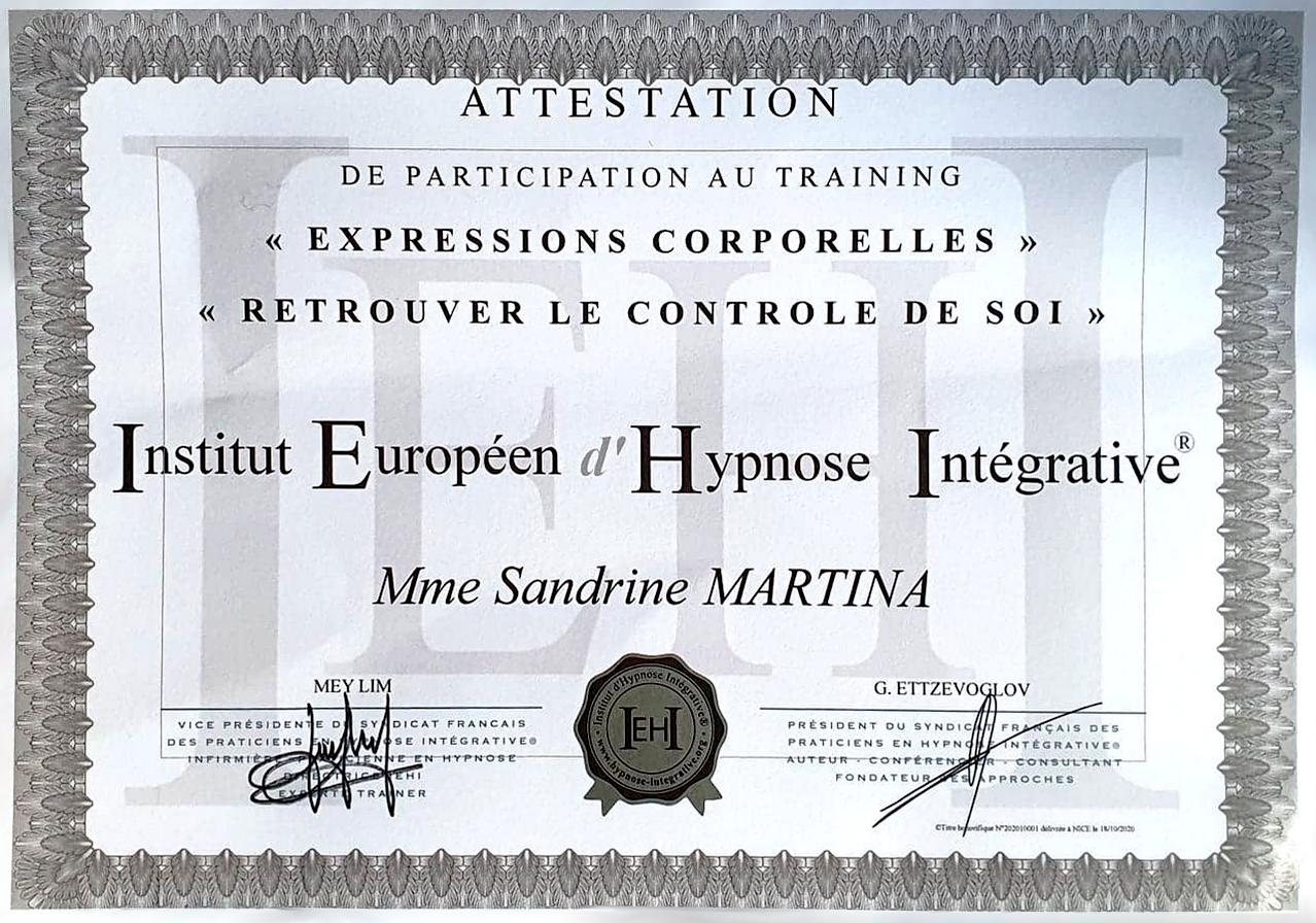 Certification attestation retrouver le contrôle de soi