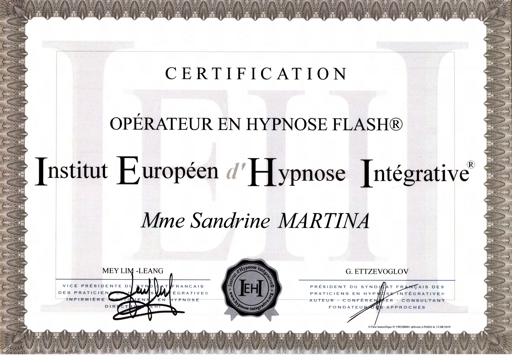 Diplome hypnose flash®