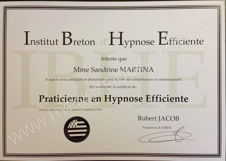 Diplome praticienne hypnose efficiente copyright