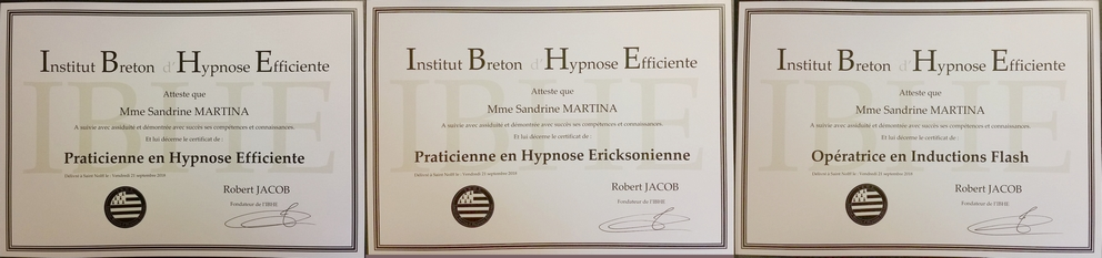 Diplomes hypnose Sandrine Martina