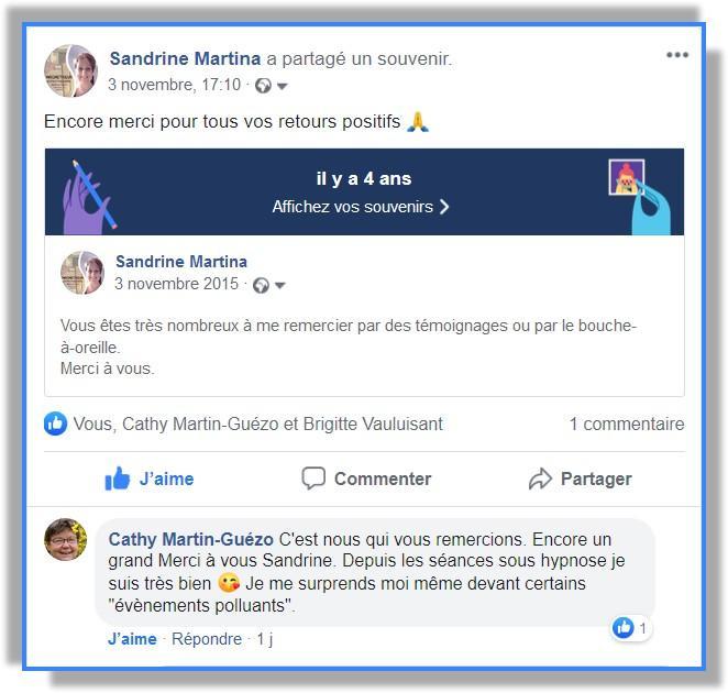 Témoignage hypnose avec Sandrine MARTINA
